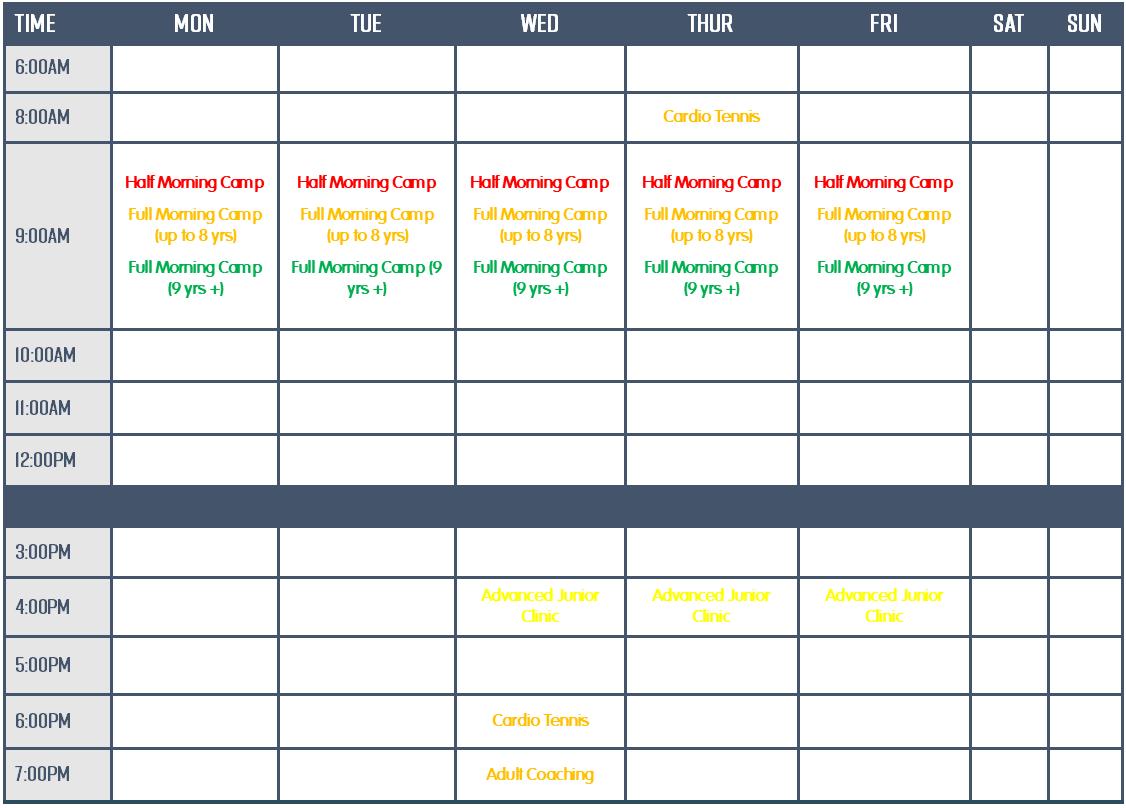 East Freo LTC Jan 2021 Timetable