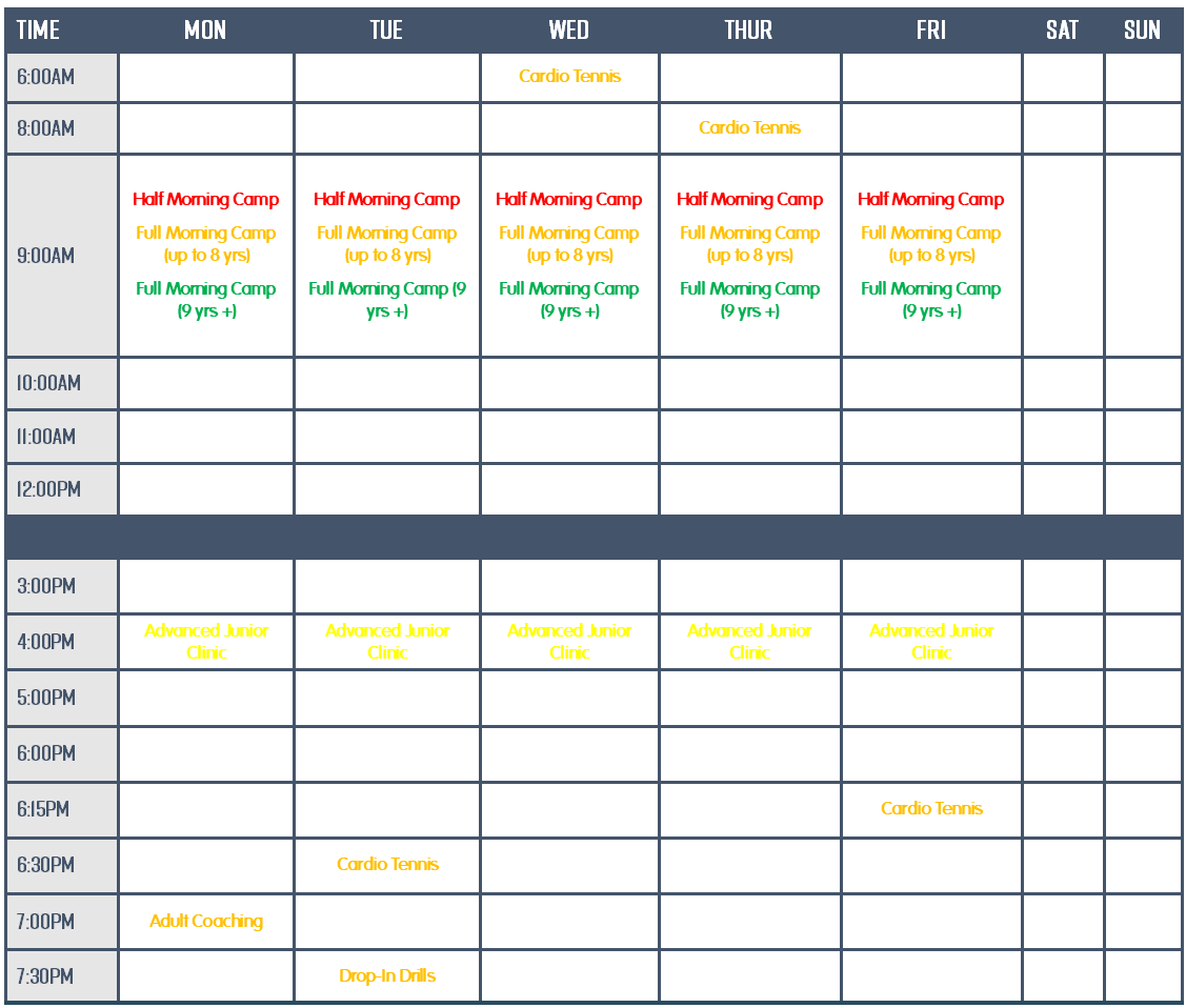 Onlsow Park TC Jan 2021 timetable