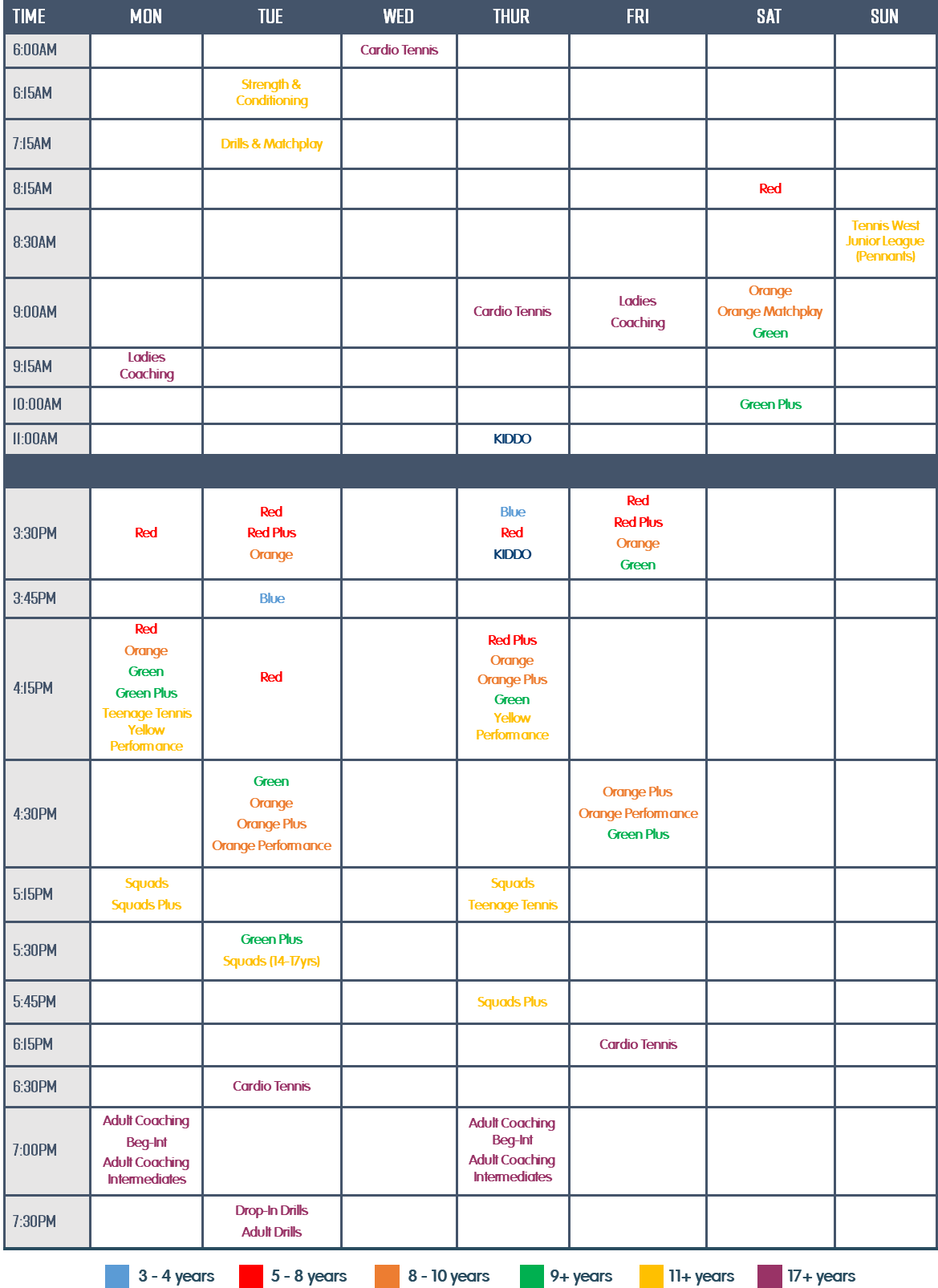 Onslow Park Timetable Term 1