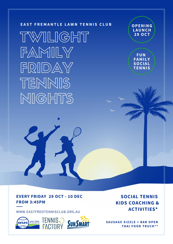 TWILIGHT FAMILY FRIDAY TENNIS NIGHTS AT EFLTC!